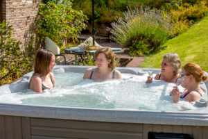 A Hen Party enjoying thye hot tub at Holt Farm
