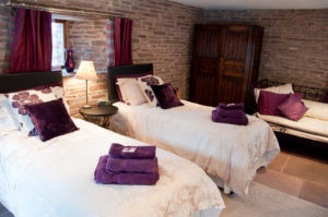 Family bedroom, luxury holiday cottage.